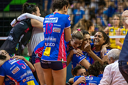 18-05-2019 GER: CEV CL Super Finals Igor Gorgonzola Novara - Imoco Volley Conegliano, Berlin<br /> Igor Gorgonzola Novara take women's title!Novara win 3-1 /  Novara celebrate Celeste Plak #4 of Igor Gorgonzola NovaraErblira Bici #13 of Igor Gorgonzola Novara, Paula Yamila Nizetich #5 of Igor Gorgonzola Novara, Stefana Veljkovic #17 of Igor Gorgonzola Novara