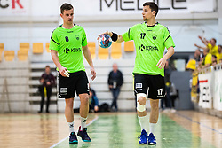 Grega Oklescen of MRK Krka and Jaka Jakse of MRK Krka during handball match between RK Gorenje Velenje and MRK Krka in Final of Slovenian Men Handball Cup 2018/19, on Maj 12, 2019 in Novo Mesto, Slovenia. Photo by Grega Valancic / Sportida