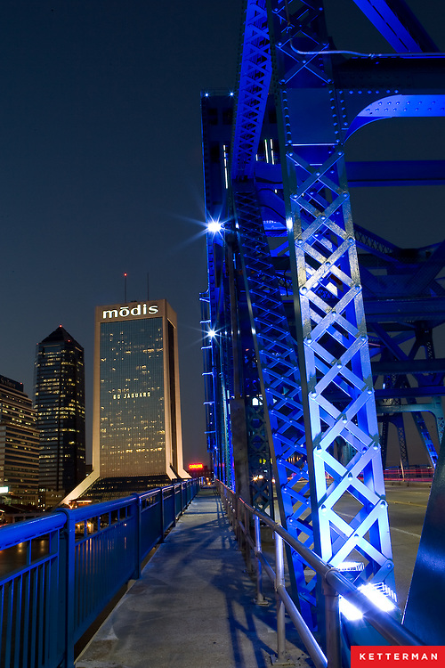The downtown Jacksonville, Florida skyline as seen from the Main Street Bridge.