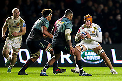 Ollie Atkins of Exeter Chiefs takes on Kyle Sinckler and Ben Glynn of Harlequins - Mandatory by-line: Robbie Stephenson/JMP - 30/11/2018 - RUGBY - Twickenham Stoop - London, England - Harlequins v Exeter Chiefs - Gallagher Premiership Rugby
