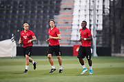 THESSALONIKI, GREECE - AUGUST 16: Douglas Bergqvist, Bobo Sollander and Alhaji Gero of Oestersunds FK during training ahead of the UEFA Europa League Qualifying Play-Offs round first leg match between PAOK Saloniki and &Ouml;stersunds FK at Toumba Stadium on August 16, 2017 in Thessaloniki, Greece. Foto: Nils Petter Nilsson/Ombrello<br /> ***BETALBILD***