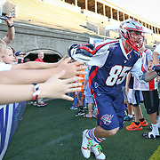 during the game at Harvard Stadium on August 9, 2014 in Boston, Massachusetts. (Photo by Elan Kawesch)