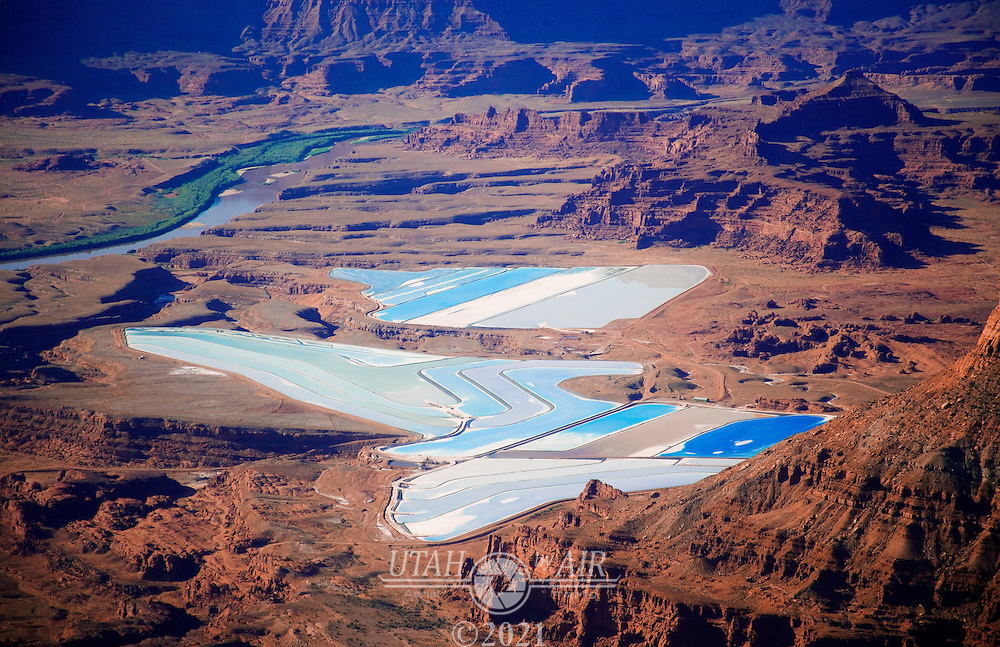 Potash evaporation ponds by the Colorado River, Utah