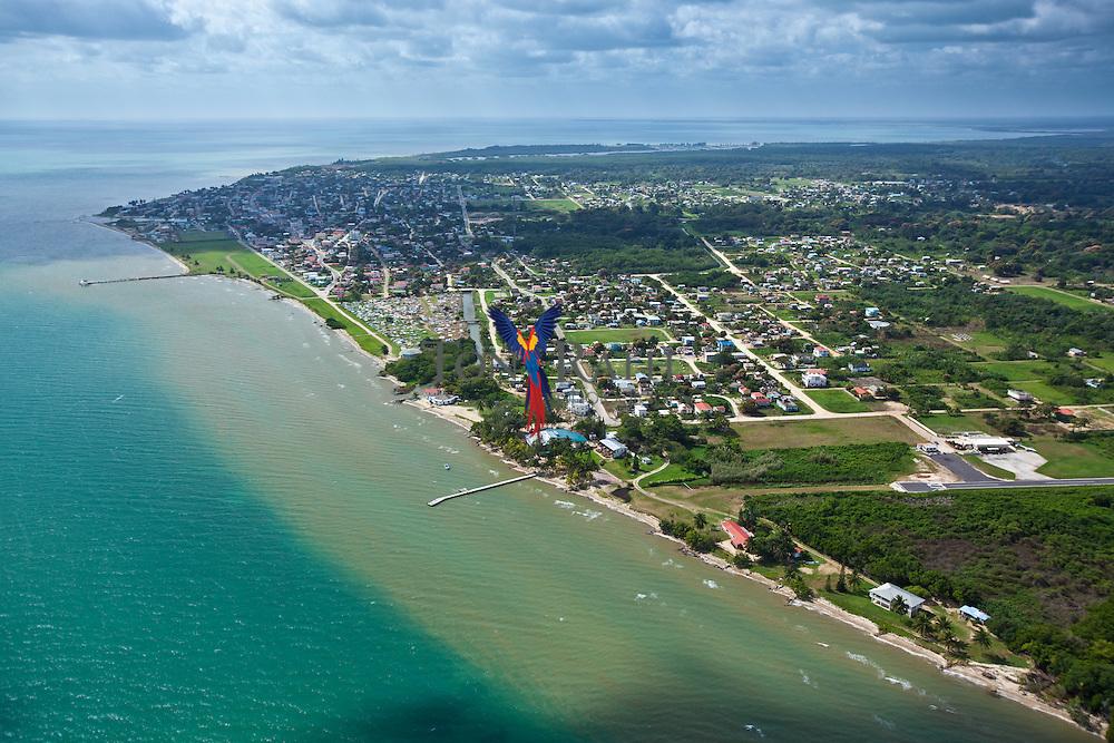 Aerial of Dangriga looking South, Stann Creek, Belize