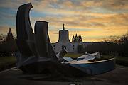 USA, Oregon, Salem, Oregon, Oregon Capitol at Sunset on New Year's Eve.