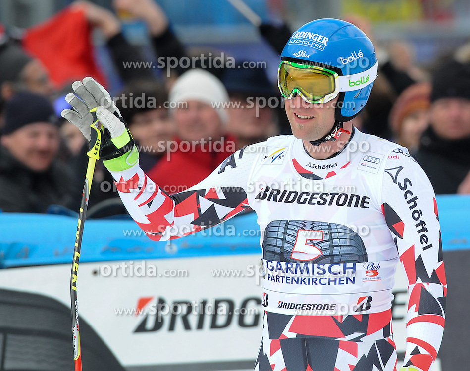 28.02.2015, Kandahar, Garmisch Partenkirchen, GER, FIS Weltcup Ski Alpin, Garmisch Partenkirchen, Abfahrt, Herren, im Bild Romed Baumann of Austria // reacts after his run for the men's Downhill of the FIS Ski Alpine World Cup at the Kandahar in Garmisch Partenkirchen, Germany on 2015/02/28. EXPA Pictures © 2015, PhotoCredit: EXPA/ Erich Spiess