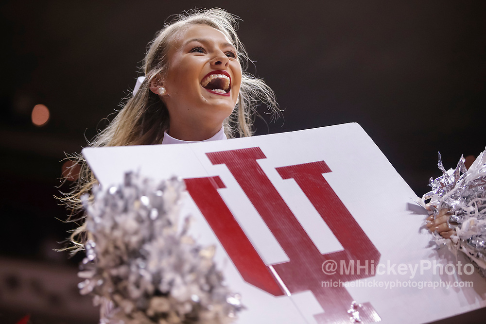 BLOOMINGTON, IN - FEBRUARY 23: An Indiana Hoosiers cheerleader is seen during the game against the Ohio State Buckeyes at Simon Skjodt Assembly Hall on February 23, 2018 in Bloomington, Indiana. (Photo by Michael Hickey/Getty Images)