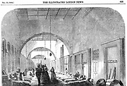 The barrack hospital at Scutari during the Crimean War (1853-56) under Florence Nightingale's (1820-1910) management. From 'The Illustrated London News', 1854.  Wood engraving