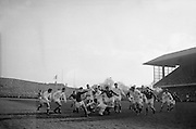 English scrum half Clarke goes down to pounce on the ball to prevent Irish footrush near English line. ..Irish Rugby Football Union, Ireland v England, Five Nations, Landsdowne Road, Dublin, Ireland, Saturday 13th February, 1965,.13.2.1965, 2.13.1965,..Referee- H S Laidlaw, Scottish Rugby Union, ..Score- Ireland 5 - 0 England, ..Irish Team, ..T J Kiernan,  Wearing number 15 Irish jersey, Full Back, Cork Constitution Rugby Football Club, Cork, Ireland,..P J Casey, Wearing number 14 Irish jersey, Right Wing, Landsdowne Rugby Football Club, Dublin, Ireland, ..M K Flynn, Wearing number 13 Irish jersey, Right Centre, Wanderers Rugby Football Club, Dublin, Ireland, ..K J Houston, Wearing number 12 Irish jersey, Left Centre, Bruff Rugby Football Club, Limerick, Ireland, and, Oxford University Rugby Footabll Club, Oxford, England,..P J McGrath,  Wearing number 11 Irish jersey, Left Wing, University college Cork Rugby Football Club, Cork, Ireland,..C M H Gibson, Wearing number 10 Irish jersey, Stand Off, Cambridge University Rugby Football Club, Cambridge, England, and, N.I.F.C, Rugby Football Club, Belfast, Northern Ireland, ..R M Young, Wearing number 9 Irish jersey, Scrum Half, Queens University Rugby Football Club, Belfast, Northern Ireland,..S MacHale, Wearing number 1 Irish jersey, Forward, Landsdowne Rugby Football Club, Dublin, Ireland, ..K W Kennedy, Wearing number 2 Irish jersey, Forward, Queens University Rugby Football Club, Belfast, Northern Ireland,..R J McLoughlin, Wearing number 3 Irish jersey, Captain of the Irish team, Forward, Gosforth Rugby Football Club, Newcastle, England, ..W J McBride, Wearing number 4 Irish jersey, Forward, Bective Rangers Rugby Football Club, Dublin, Ireland,  ..W A Mulcahy, Wearing number 5 Irish jersey, Forward, Bective Rangers Rugby Football Club, Dublin, Ireland,  ..M G Doyle, Wearing number 6 Irish jersey, Forward, University College Dublin Rugby Football Club, Dublin, Ireland,..R A Lamont, Wearing number 8 Irish jersey, Forwar