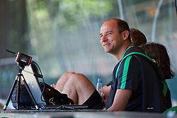 01.07.2015, Weserstadion, Bremen, GER, 1. FBL, SV Werder Bremen, Trainingsauftakt, im Bild Viktor Skripnik (Cheftrainer SV Werder Bremen) gut gelaunt beim Laktattest // during a Trainingssession of German Bundesliga Club SV Werder Bremen at the Weserstadion in Bremen, Germany on 2015/07/01. EXPA Pictures © 2015, PhotoCredit: EXPA/ Andreas Gumz<br /> <br /> *****ATTENTION - OUT of GER*****