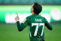 Stefan Savic of Olimpija celebrates during football match between NK Olimpija Ljubljana and NK Aluminij in semi final of Slovenian Cup 2018/19, on April 23, 2019 in Stozice Stadium, Ljubljana, Slovenia. Photo by Morgan Kristan