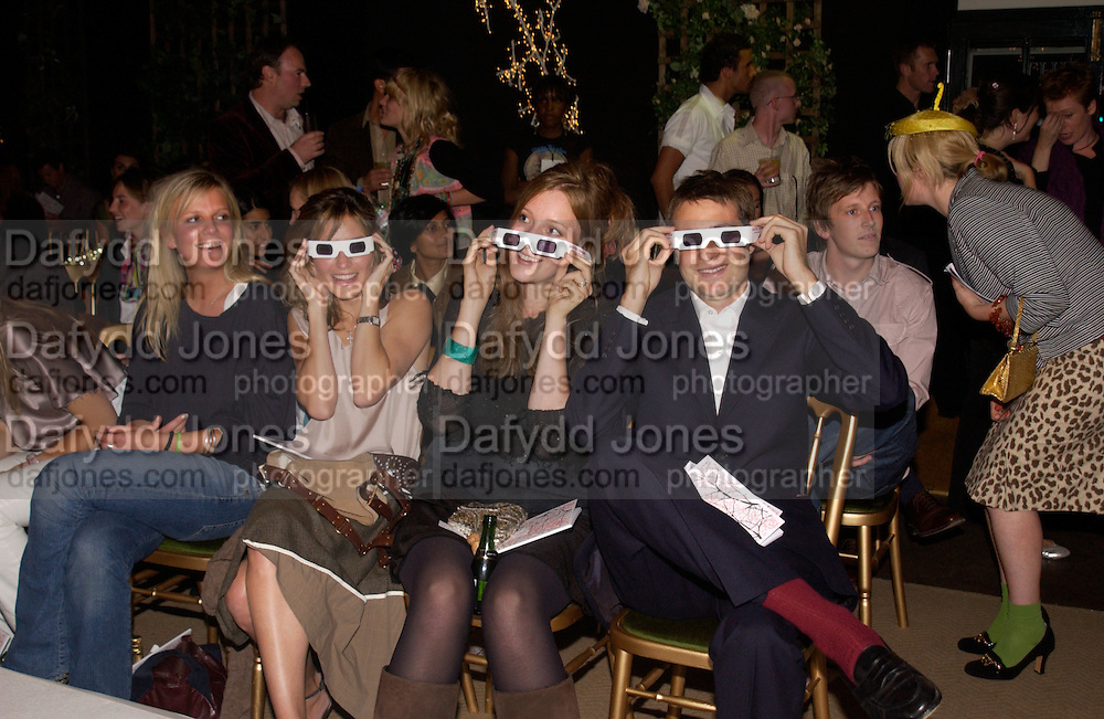Sheherazade  Goldsmith, Kate Goldsmith and Ben goldsmith, Clothesline, fundraising fashion show and auction to raise money for an aids charity in Africa. chelsea Gardener, 20 September 2004. SUPPLIED FOR ONE-TIME USE ONLY-DO NOT ARCHIVE. © Copyright Photograph by Dafydd Jones 66 Stockwell Park Rd. London SW9 0DA Tel 020 7733 0108 www.dafjones.com
