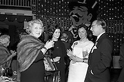 13/05/1962<br /> 05/13/1962<br /> 13 May 1962<br /> Variety Club Convention Cocktail Party at the Shelbourne Hotel, Dublin. Pictured are (l-r): Florence Jeapes, London; Muriel O'Hanlon, Irish Actress; Miss E. McPhilips, Assistant Secretary, Ladies Committee, Dublin Convention and Clifford Jeapes, Film Executive, London, Official Delegate to Dublin Convention.