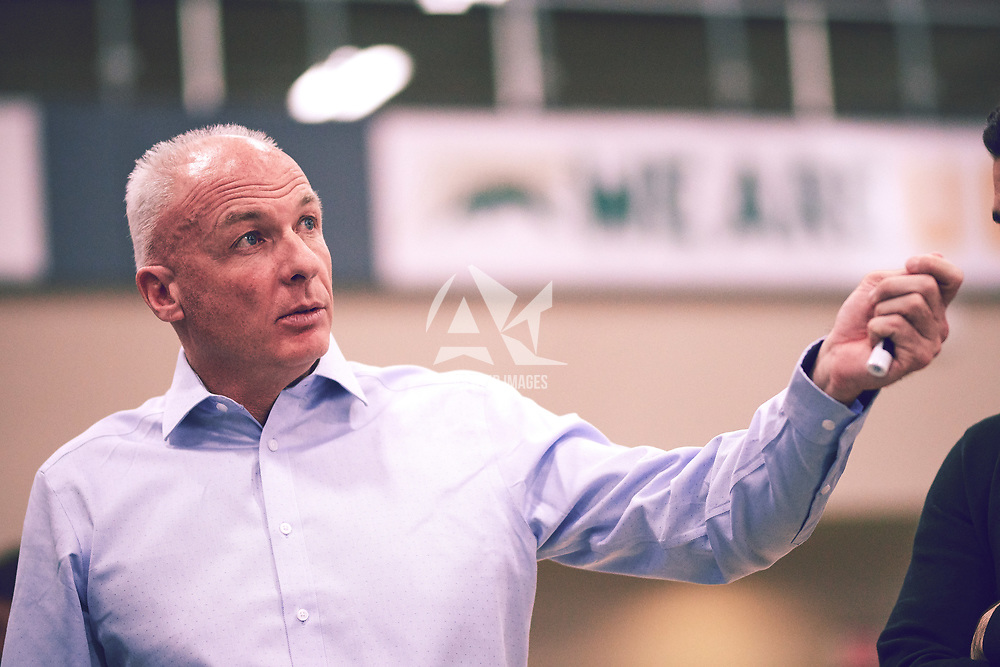 Men's basketball Head Coach, Steve Burrows  during the Men's Basketball Home Game on Sat Feb 02 at Centre for Kinesiology,Health and Sport. Credit: Arthur Ward/Arthur Images