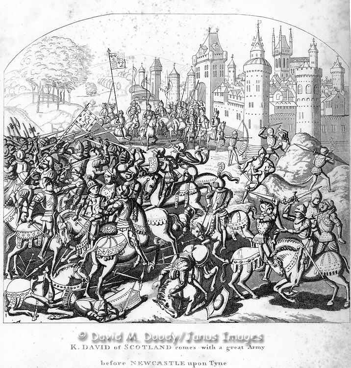 "woodcut ""K. David of Scotland comes with a great Army before Newcastle upon Tyne From  ""Chronicles of England"" 1806 by Froissart"