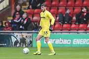 Forest Green Rovers goalkeeper James Montgomery during the EFL Sky Bet League 2 match between Crewe Alexandra and Forest Green Rovers at Alexandra Stadium, Crewe, England on 27 April 2019.