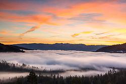 """Foggy Donner Lake Sunrise 3"" - Photograph of fog above Donner Lake in Truckee, California. Shot at sunrise."