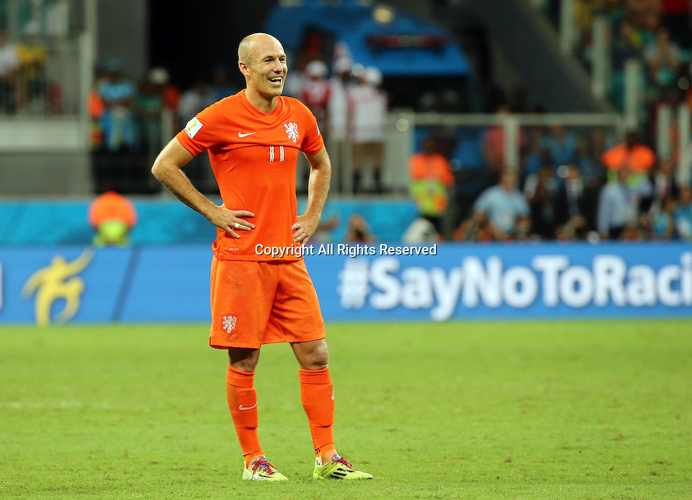 05.07.2014. Salvador, Brazil. Fifa World Cup Quarter Final. Netherlands versus Costa Rica from the Arena Fonte Nova stadium. Robben left to contemplate  a penalty kick shoot-out