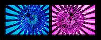 Berlin februar 2012.<br /> Bilder av et tak i Berlin med lys og linjer bl&aring;tt og fiolett.<br /> Foto: Svein Ove Ekornesv&aring;g