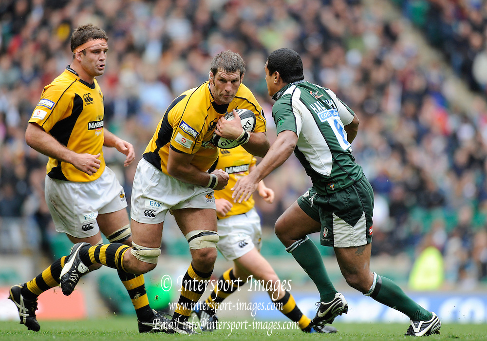 "Twickenham, GREAT BRITAIN, Wasps, ""Simon SHAW"", running with the ball, supported left by ""Joe WORSLEY"", Exiles Chris HALA'UFIA challenging, during the Guinness Premiership match,  London Irish vs London Wasps, at Twickenham Stadium, Surrey on Sat 06.09.2008. [Photo, Peter Spurrier/Intersport-images]"