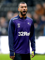 Derby County's Ashley Cole during the pre-match warm up prior to the beginning of the match