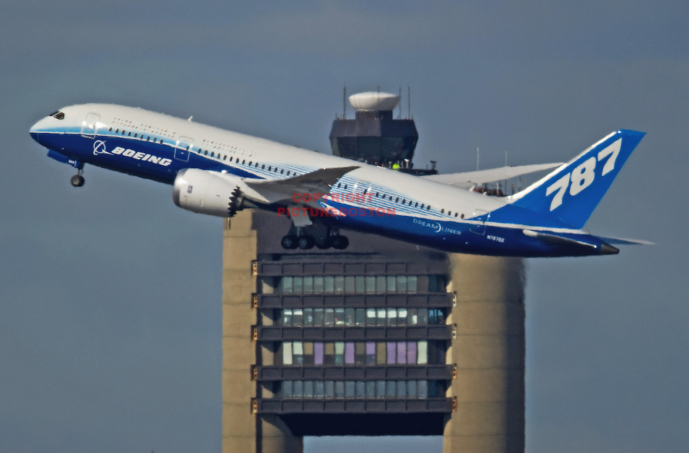 Boeing's new airliner, the 787 Dreamliner, departs Boston's Logan airport this morning, March 5, 2012.