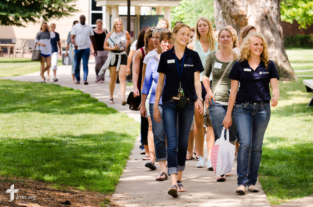 New students and parents are lead on a tour through campus at Concordia University, Saint Paul, on Wednesday, August 6, 2014, in St. Paul, Minn.   LCMS Communications/Erik M. Lunsford