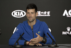 MELBOURNE, Jan. 23, 2019  Novak Djokovic of Serbia speaks during the press conference after the men's singles quarterfinal match against Kei Nishikori of Japan at the 2019 Australian Open in Melbourne, Australia, Jan. 23, 2019. (Credit Image: © Hu Jingchen/Xinhua via ZUMA Wire)