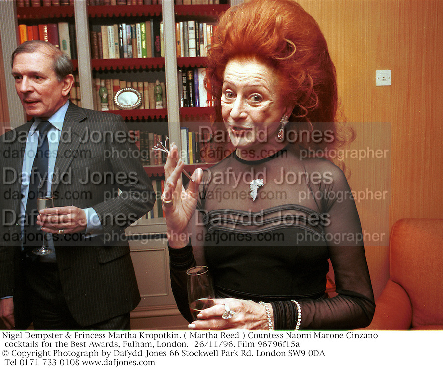 Nigel Dempster & Princess Martha Kropotkin. ( Martha Reed ) Countess Naomi Marone Cinzano cocktails for the Best Awards, Fulham, London.  26/11/96. Film 96796f15a<br />