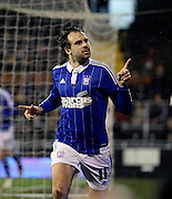 Ipswich striker Brett Pitman celebrating scoring Ipswich second goal during the Sky Bet Championship match between Fulham and Ipswich Town at Craven Cottage, London, England on 15 December 2015. Photo by Matthew Redman.