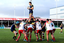 Phil Dowson (c) of Worcester Warriors catches the ball from a line out - Mandatory by-line: Robbie Stephenson/JMP - 28/01/2017 - RUGBY - Sixways Stadium - Worcester, England - Worcester Warriors v Harlequins - Anglo Welsh Cup