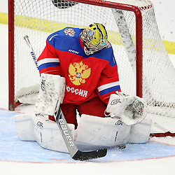 COBOURG, - Dec 19, 2015 -  Gold Metal Game - Russia vs Canada West at the 2015 World Junior A Challenge at the Cobourg Community Centre, ON. Goaltender Mikhail Berdin #1 of Team Russia makes the save during the second period. (Photo: Tim Bates / OJHL Images)