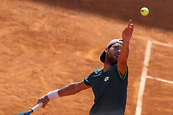 May 6, 2018 - Estoril, Portugal - Joao Sousa of Portugal serves a ball to Frances Tiafoe of US during the Millennium Estoril Open ATP 250 tennis tournament final, at the Clube de Tenis do Estoril in Estoril, Portugal on May 6, 2018. (Credit Image: © Pedro Fiuza via ZUMA Wire)