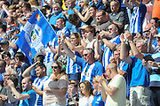 Wigan Fans as there side are Crown Champions after the Sky Bet League 1 match between Wigan Athletic and Barnsley at the DW Stadium, Wigan, England on 8 May 2016. Photo by John Marfleet.