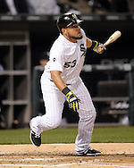 CHICAGO - APRIL 18:  Melky Cabrera #53 of the Chicago White Sox bats against the Los Angeles Angels of Anaheim on April 18, 2016 at U.S. Cellular Field in Chicago, Illinois.  The Angels defeated the White Sox 7-0.  (Photo by Ron Vesely)    Subject:  Melky Cabrera