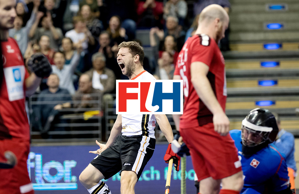 BERLIN - Indoor Hockey World Cup<br /> Quarterfinal 3: Germany - Switzerland<br /> foto: Martin H&auml;ner celebrating the 2-0.<br /> WORLDSPORTPICS COPYRIGHT FRANK UIJLENBROEK