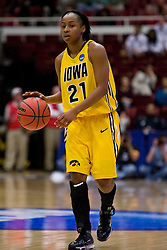 March 20, 2010; Stanford, CA, USA; Iowa Hawkeyes guard Kachine Alexander (21) during the second half against the Rutgers Scarlet Knights in the first round of the 2010 NCAA womens basketball tournament at Maples Pavilion.  Iowa defeated Rutgers 70-63.