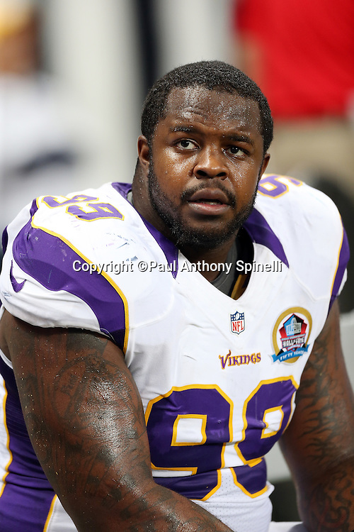 Minnesota Vikings defensive end Christian Ballard (99) looks on from the sideline during the NFL week 15 football game against the St. Louis Rams on Sunday, Dec. 16, 2012 in St. Louis. The Vikings won the game 36-22. ©Paul Anthony Spinelli