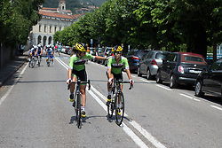 Sheyla Gutierrez Ruiz (ESP) consoles Cylance Pro Cycling team mate Krista Doebel-Hickok (USA) after the Giro Rosa 2016 - Stage 4. A 98.6 km road race from Costa Volpino to Lovere, Italy on July 5th 2016.