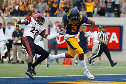 BERKELEY, CA - SEPTEMBER 12:  Wide receiver Maurice Harris #3 of the California Golden Bears scores a touchdown past defensive back Damontae Kazee #23 of the San Diego State Aztecs during the second quarter at California Memorial Stadium on September 12, 2015 in Berkeley, California. The California Golden Bears defeated the San Diego State Aztecs 35-7. (Photo by Jason O. Watson/Getty Images) *** Local Caption *** Maurice Harris; Damontae Kazee