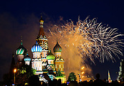 MOSCOW, RUSSIA - JUNE 12:  Ahead of the start of the 2018 World Cup, fireworks explode next to St Basil's Cathedral in Red Square at the end of a concert to celebrate 'Russia Day' on June 12, 2018 in Moscow, Russia. Since 1992 'Russia Day' has been celebrated on June 12 as the Russian Federation's national holiday. , fee liable image, copyright © ATP Amin JAMALI<br /> IMPRESSIONS MOSCOW 2018 - People - City - FANS,  <br /> Football World Cup starts in MOSCOW on June 14th 2018<br /> Honorarpflichtiges Foto, Fee liable image, Copyright © ATP Amin JAMALI