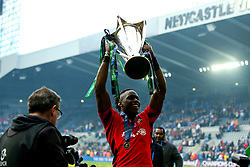 Maro Itoje of Saracens celebrates winning the Heineken Champions Cup after beating Leinster Rugby - Mandatory by-line: Robbie Stephenson/JMP - 11/05/2019 - RUGBY - St James' Park - Newcastle, England - Leinster Rugby v Saracens - Heineken Champions Cup Final