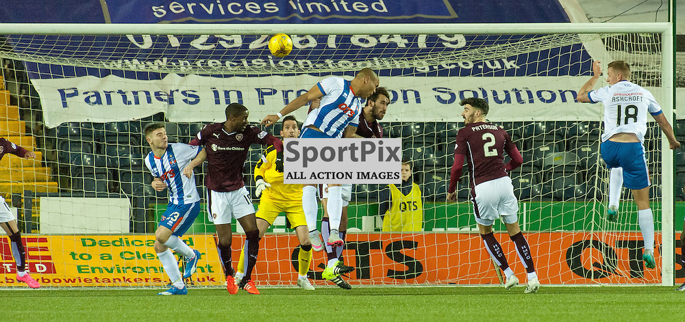 #28 Josh Magennis (Kilmarnock, centre) heads in for 2-2 • Kilmarnock v Heart of Midlothian • Ladbrokes Premiership • 2 January 2016• © Russel Hutcheson | SportPix.org.uk