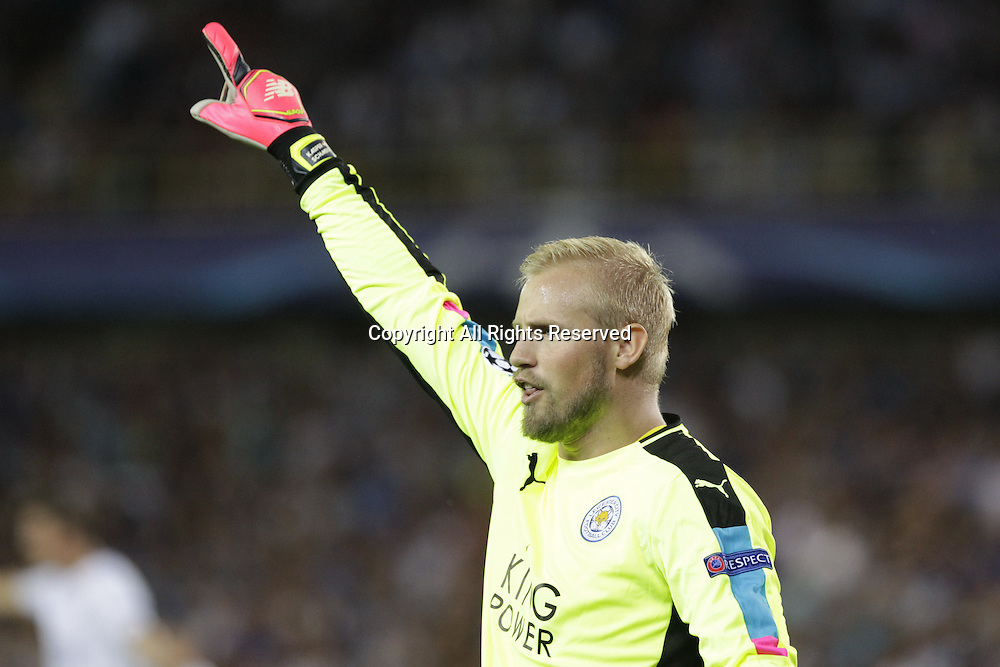 14.09.2016. Stadium Jan Breydel, Bruge, Belgium. UEFA Cahmpions league football. FC Bruges versus Leicester City.  Kasper Schmeichel gives his defense instructions