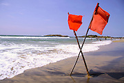 red warning flags at beach, south india