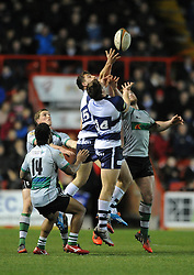 Bristol Rugby's Jack Wallace and Bristol Rugby's Tommaso Benvenuti attempt to gather the loose ball - Photo mandatory by-line: Dougie Allward/JMP - Mobile: 07966 386802 - 06/03/2015 - SPORT - Rugby - Bristol - Ashton Gate - Bristol Rugby v Nottingham Rugby - Greene King IPA Championship