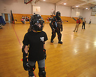 Lafayette Middle School student Shantel Pope participates in a self defense class on Friday, February 19, 2010.