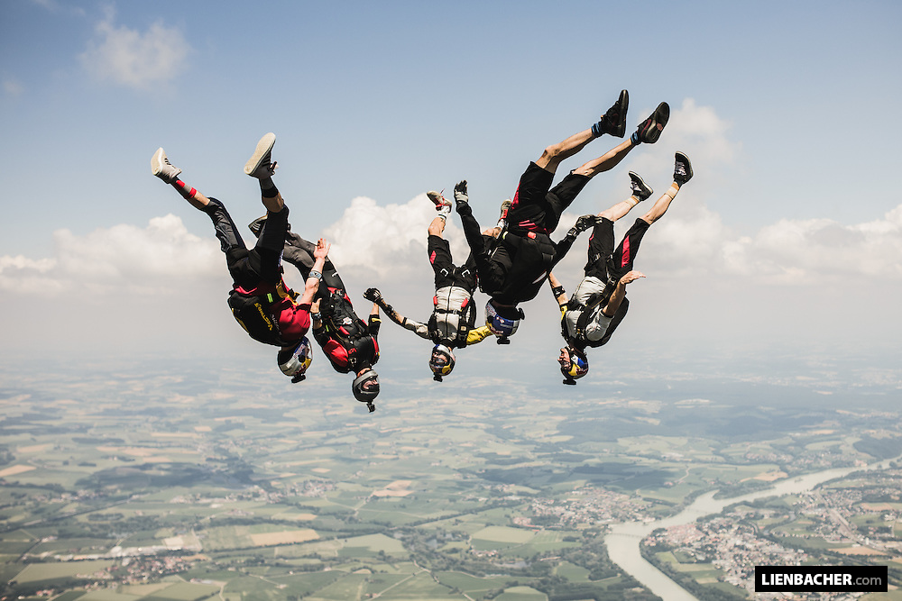 The Red Bull Skydive Team and Felix Seifert carve in the sky