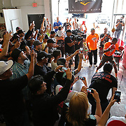 KISSIMMEE, FL - OCTOBER 05: Puerto Rican boxer Felix Verdejo is seen hitting a bag as fans surround him during his media workout event at the Kissimmee Boxing Gym on October 4, 2015 in Kissimmee, Florida. Verdejo is returning from a hand injury and announced his next fight will take place in Kissimmee on October 31. (Photo by Alex Menendez/Getty Images) *** Local Caption *** Felix Verdejo