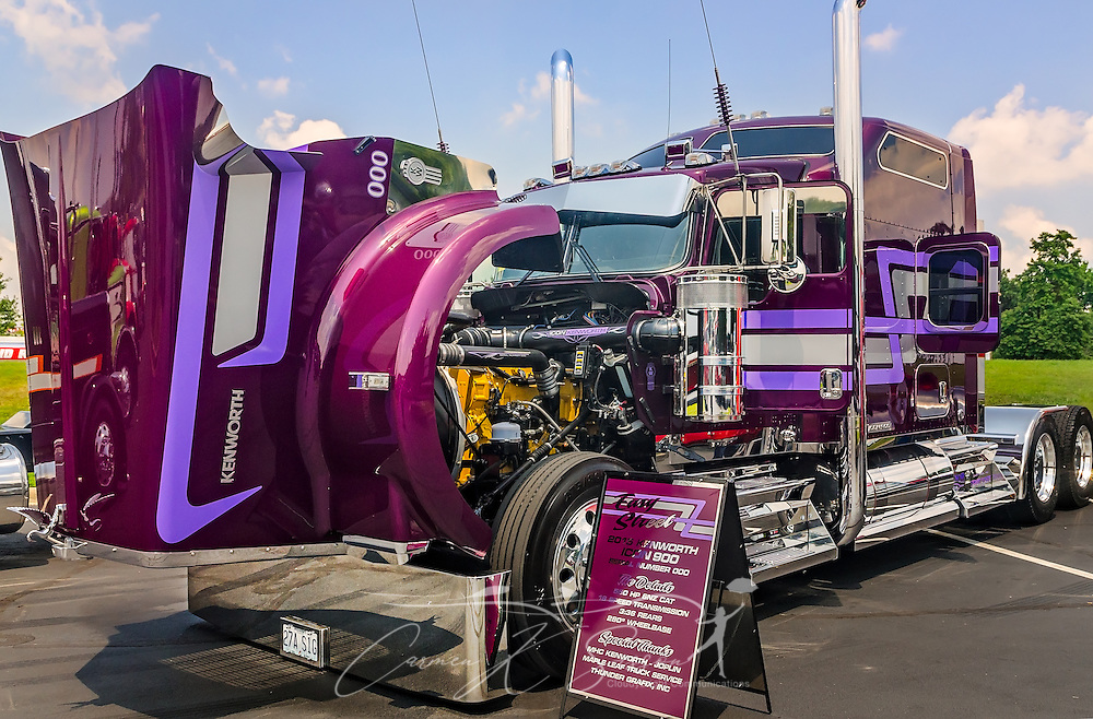 """Kyle Cousins' 2015 Kenworth Icon 900, """"Easy Street,"""" is displayed at the 34th annual Shell Rotella SuperRigs truck beauty contest, June 11, 2016, in Joplin, Missouri. SuperRigs, organized by Shell Oil Company, is an annual beauty contest for working trucks. Approximately 89 trucks entered this year's competition. (Photo by Carmen K. Sisson/Cloudybright)"""